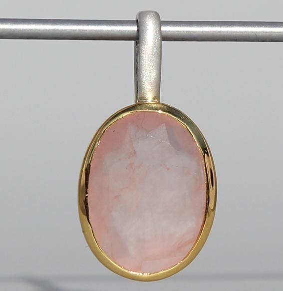 Silberanhänger vergoldet mit Rosenquarz