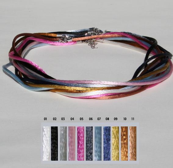 Seiden-Band, 2mm 40cm   VPE 14 Mix