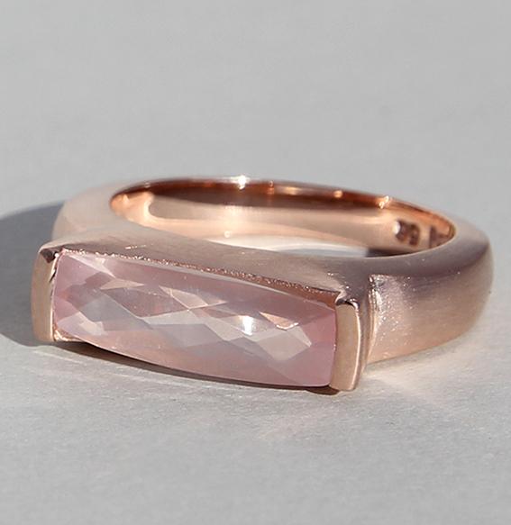 Silberring rosé vergoldet mit Rosenquarz