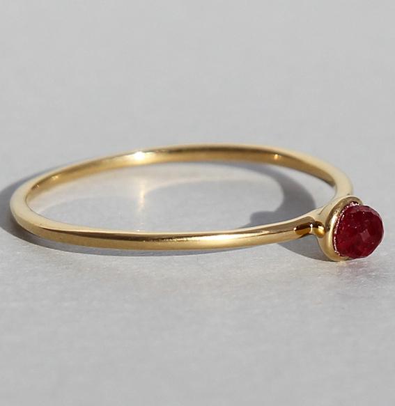 Silberring vergoldet Rubin   Micro
