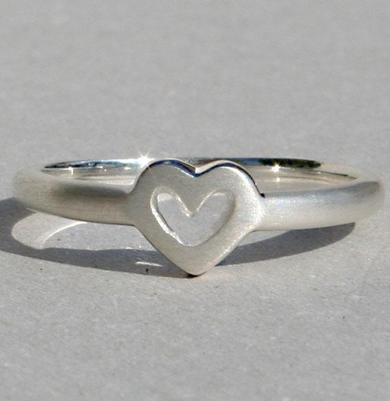 Silberring Single Heart   matt