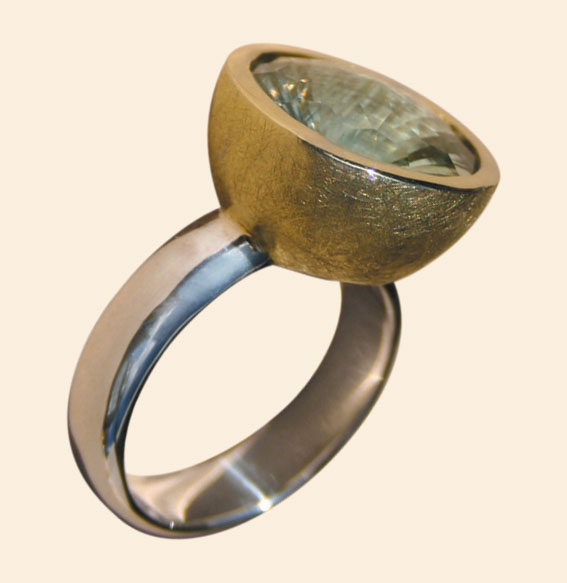 Silberring vergoldet, Prasiolith