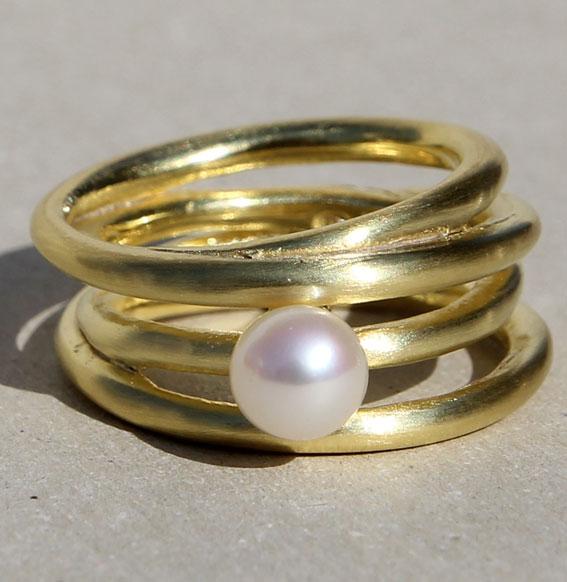 Silberring vergoldet mit SWZ Perle | Cluster schmal
