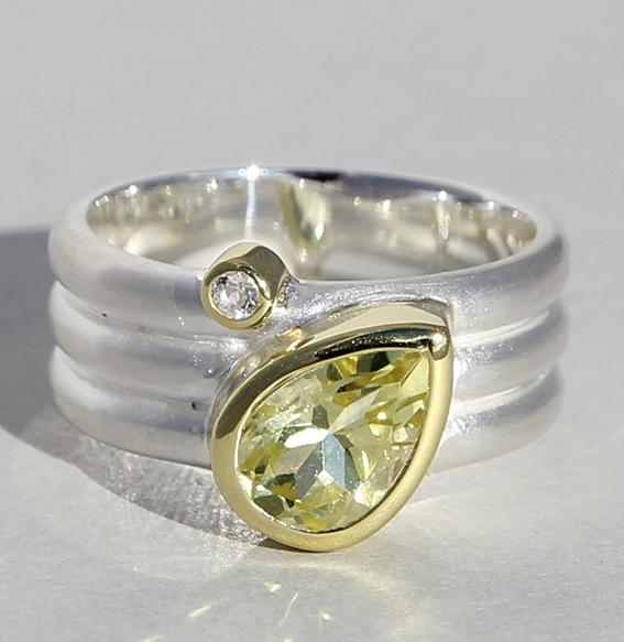 Silberring vergoldet mit Lemonquarz und Bergkristall