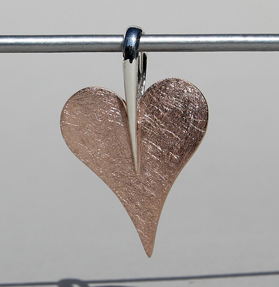 "Silberanhänger ""sharp heart"" rosé vergoldet, klein"
