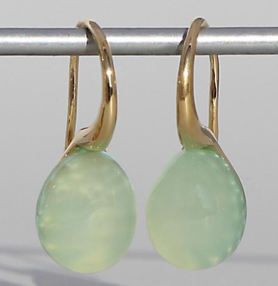 Silberohrhänger vergoldet | Pear mit Aqua Chalcedon