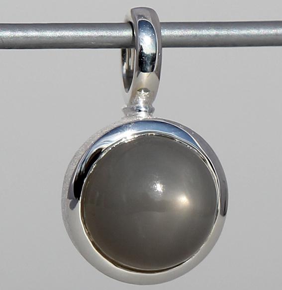 Silberanhänger | Cup mit Mondstein grau