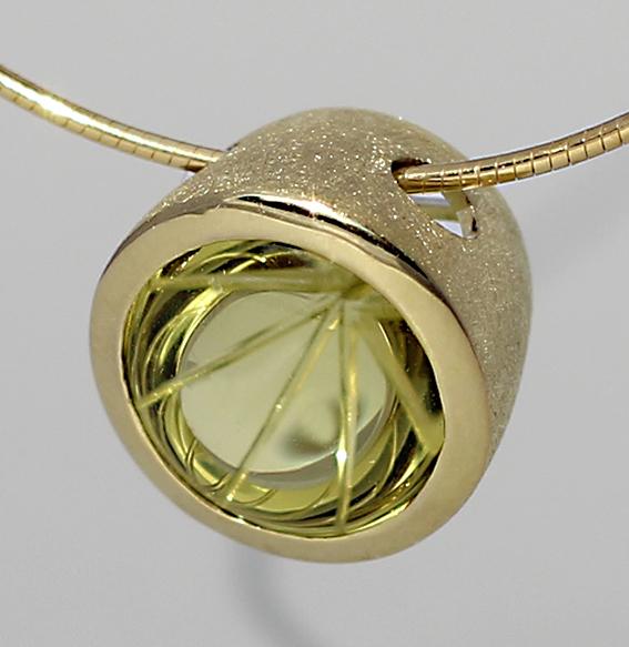 Silberanhänger vergoldet mit Lemonquarz | Noblesse