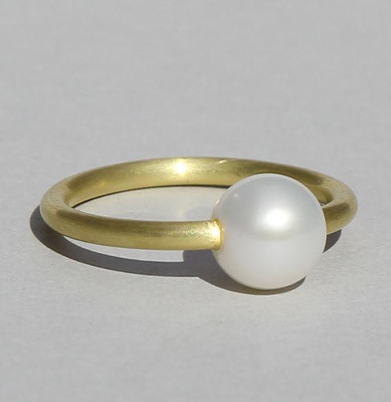 Silberring vergoldet mit SWZ Perle | Selma