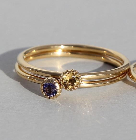 Silberring vergoldet Citrin | Krönchen klein