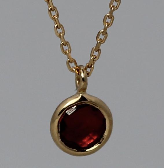 Silberanhänger vergoldet mit Granat   fineflat