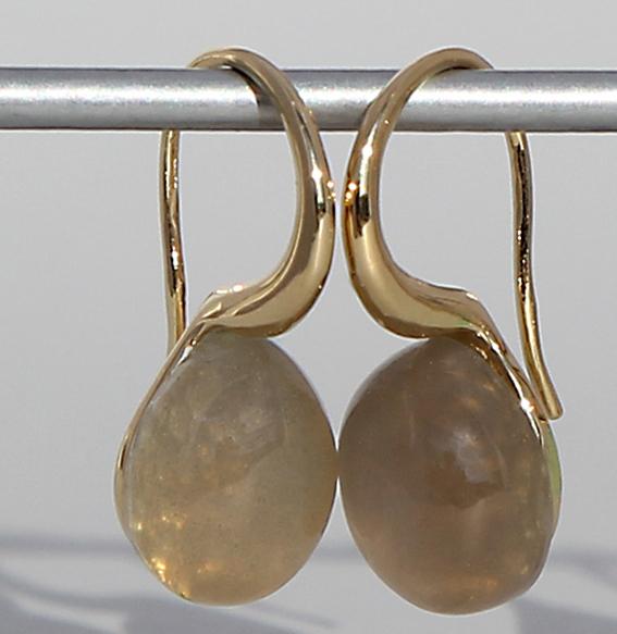 Silberohrhänger vergoldet | Pear mit Mondstein grau